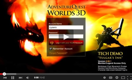 AdventureQuest Worlds 3D Tech Dermo Video